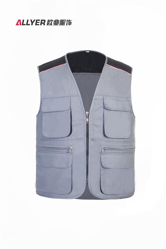 MJ03时尚拼色多口袋马甲工装可定制logo广告-灰色