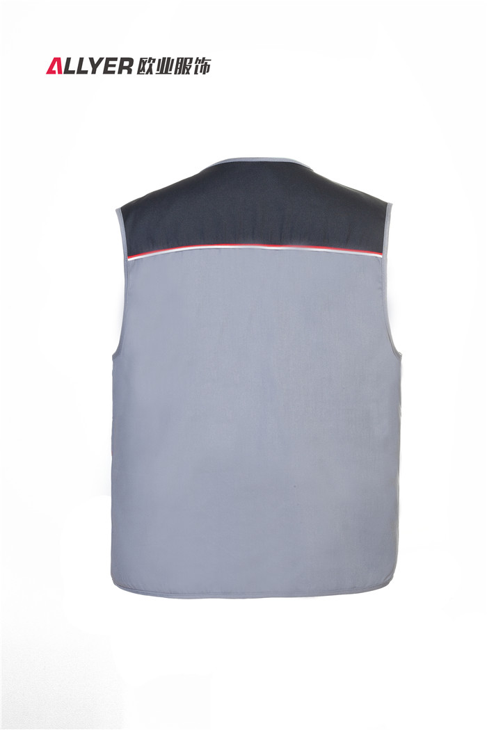 灰色MJ03时尚拼色多口袋马甲工装可定制logo广告