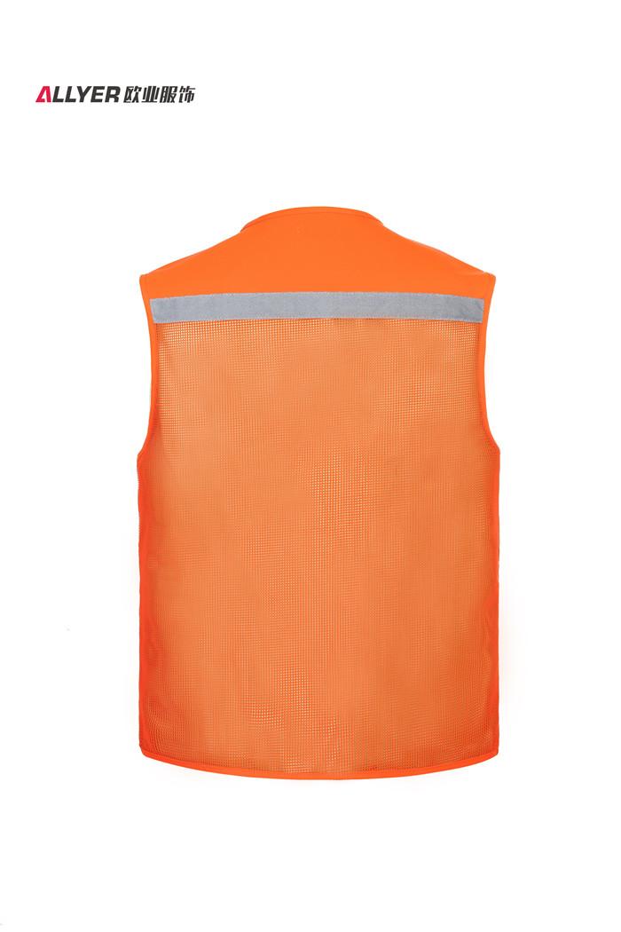 网布带反光条多口袋工装马甲乐动投注平台MJ05桔色