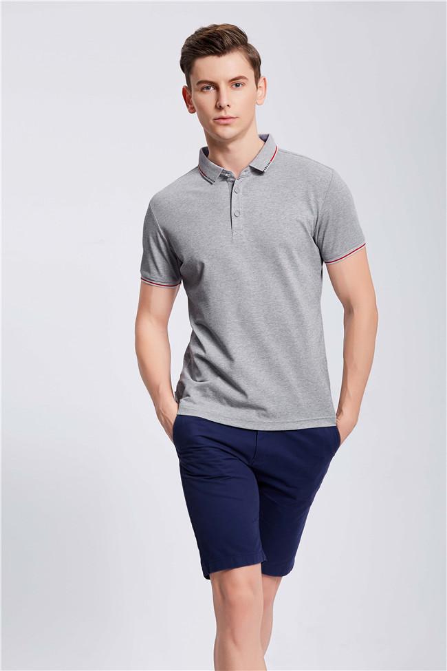 灰色高端POLO衫定制工装企业乐动投注平台T恤