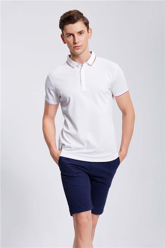 白色高端POLO衫定制工装企业乐动投注平台T恤